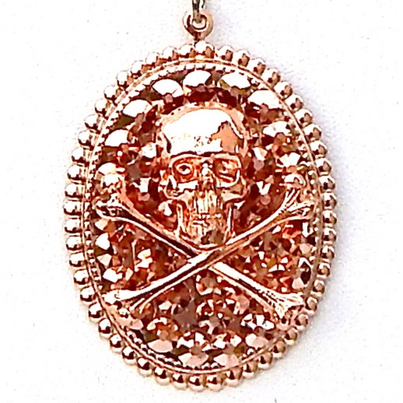 GASOLINE GLAMOUR Jewelry - ROSE WATER ROSE GOLD SKULL & BONES NECKLACE